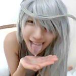 【コスプレエロ動画】「いっぱい出た♡」銀髪の眼帯コスプレ美少女と個人撮影