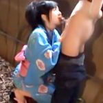 【コスプレエロ動画】浴衣姿の蒼井そらが野外で即尺フェラチオ抜き!